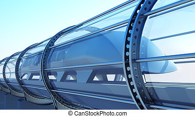 monorail futuristic train in tunnel. 3d rendering - monorail...