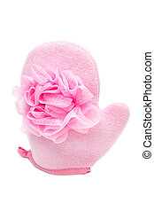pink bath sponge - beautiful pink bath sponge on white...