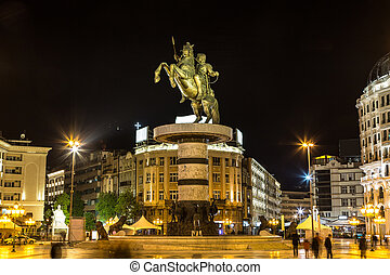 Alexander the Great Monument in Skopje in a beautiful summer...