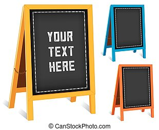 Signs, Chalk board Folding Sidewalk Easels, Bright Frames -...