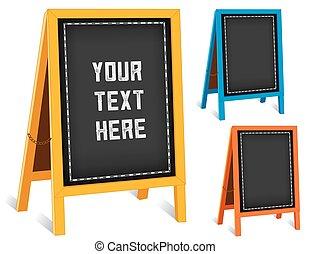 Signs, Chalk board Folding Sidewalk Easels, Bright Frames -...