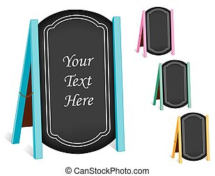 Signs, Chalk board Folding Sidewalk Easels, Pastel Frames -...