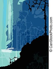 Waterfall - Stylized waterfall with silhouetted rock and a...