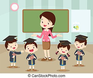 graduation students and teacher happiness