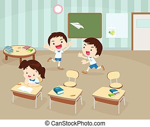 Students playing in Classroom - Illustration of Kids Playing...