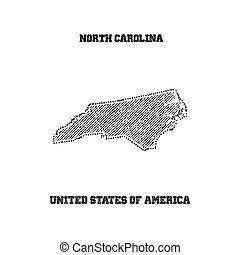 Label with map of north carolina.