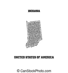 Label with map of indiana.