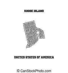Label with map of rhode island. Vector illustration.