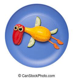 azul, placa, vegetales, hecho, pato