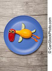 placa, hecho, vegetales, vuelo, madera, pato