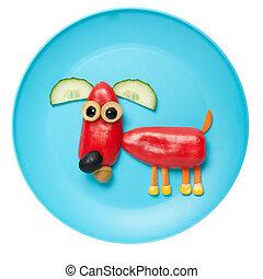 placa, pimienta, hecho, perro, rojo