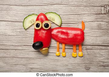 pimienta, hecho, de madera, perro, Plano de fondo, rojo