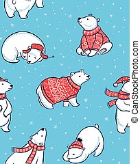 Winter seamless pattern with polar bears in cartoon style
