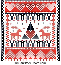 Scandinavian style and Nordic culture inspired Christmas and festive winter square  pattern in cross stitch style with Xmas tree, reindeer, hearts, snowflakes, stars in red, blue
