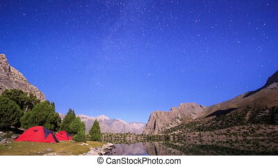 Mountains in the moonlight. Time Lapse. Pamir, Tajikistan ....