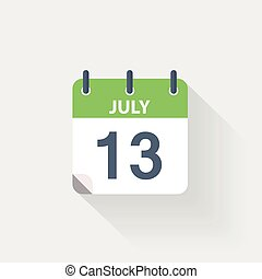 13 july calendar icon on grey background