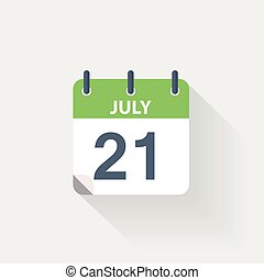 21 july calendar icon on grey background