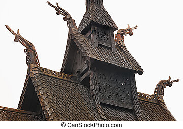 Traditional norwegian stave roof church. Borgund. Travel...