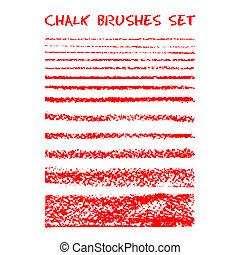 Set of chalk brushes. Vector lines with chalk texture. Hand...
