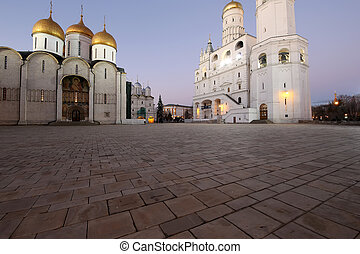 Ivan the Great Bell-Tower complex at night. Cathedral...
