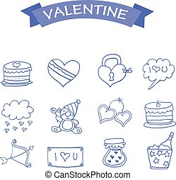 Collection of valentine icons vector