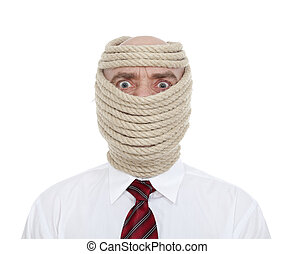 businessman wrapped face - businessman with wrapped face on...