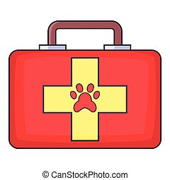 Red pet first aid kit icon, cartoon style