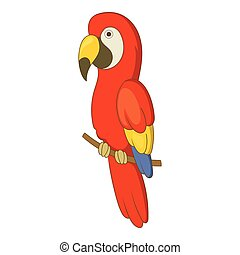 Red brazil parrot icon, cartoon style - Red brazil parrot...