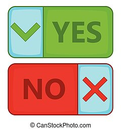 Yes and No button icon, cartoon style