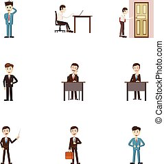 Firm icons set, cartoon style - Firm icons set. Cartoon...