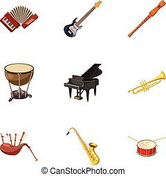 Musical device icons set, cartoon style