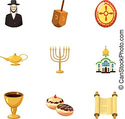 Beliefs icons set, cartoon style - Beliefs icons set....