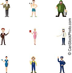 Specialty icons set, cartoon style - Specialty icons set....