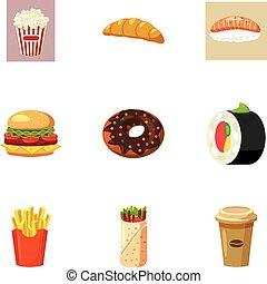 Quick snack icons set, cartoon style - Quick snack icons...