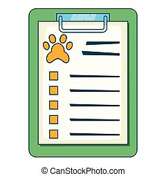 Pet medical record on clipboard icon cartoon style - Pet...