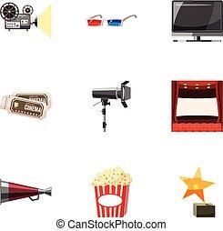 Cinematography icons set, cartoon style