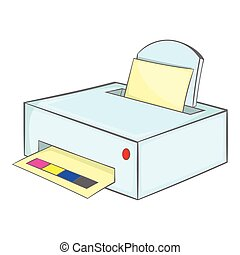 Printer with paper icon, cartoon style - Printer with paper...