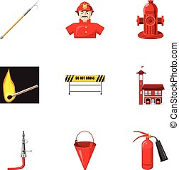 Firefighter icons set, cartoon style - Firefighter icons...