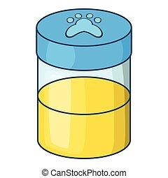 Pets urine sample icon, cartoon style - Pets urine sample...