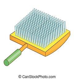 Dog brush icon, cartoon style - Dog brush icon. Cartoon...