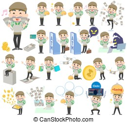 Burglar man money - Set of various poses of Burglar man...