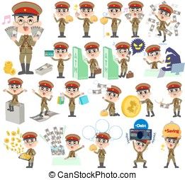military wear japan style man money - Set of various poses...