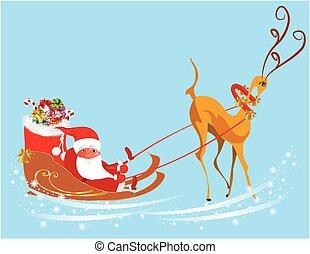Santa arrives in a sleigh - Christmas decorations Santa...