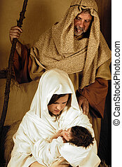 Joseph Mary and Jesus - Living christmas nativity scene...