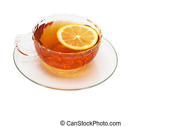 glass cup with tea and a lemon