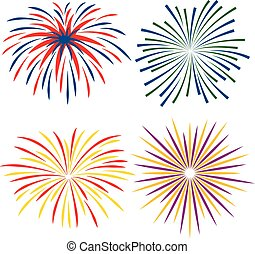 Fireworks of different kinds on white background, vector illustration