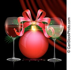 Christmas red ball and two glasses - dark festive background...