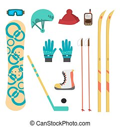 Winter sport different accessories snowboard, cross-country...