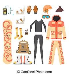 Snowboard sport clothes and tools elements. Flat cartoon...