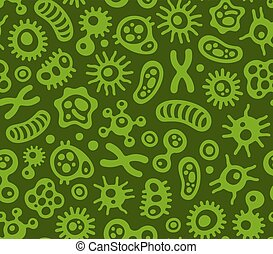 Microbes, Virus and Bacteria Green Seamless Pattern. Vector...